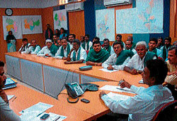 In discussion: Deputy Commissioner K G Jagadish listening to the grievances of farmers and officers during the meeting organised for ryots and KPTCL officials at the Deputy Commissioner's Office, in Hassan on Tuesday. Dh photo