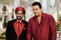 Hilarious: Arshad Warsi and Sanjay Dutt in Double Dhamaal.