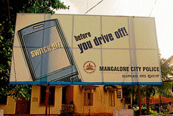 One of the awareness hoardings put up by Mangalore Police Commissionerate in the Police Commissionerate office premises.