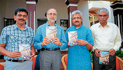 For a cause: Halathi Somashekar, Maj Gen (Retd) S G Vombatkere, Dr R Balasubramanyam and G Chandrashekar at the book release function in Mysore on Sunday. DH Photo