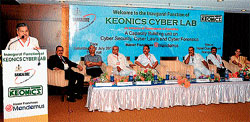 Higher Education Minister Dr V S Acharya speaking after inaugurating Cyber Lab 'KEONICS' in Mangalore on Saturday.
