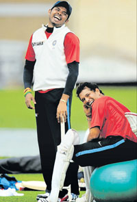 IN HIGH SPIRITS S Sreesanth and Sachin Tendulkar have  obviously put the Lord's disappointment behind them, as  evidenced by this shot at practice on Wednesday. reuters