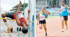 S Harshith claims the boys' U-18 high jump title. RIGHT: Rebecca Jose (left) pips Nirupama Sunderraj to win the girls' under-20 100M gold at the State Senior and Junior athletics championships in Bangalore on Friday. DH photos