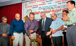 Karnataka State Open University (KSOU) former vice-chancellor B A Vivek Rai inaugurating international seminar on 'Herman Moegling-200th year of his commemoration' organised by Karnataka Theological College, Karnataka Sahithya Academy and Kittel Foundation at KTC Bishop Jathanna Hall in Balmatta on Thursday. DH PHOTO