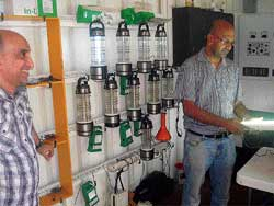 Centre of attraction:  Anand P Narayan, head of Selco Labs, Ujire with a solar lantern at the Solar Energy Centre in Dharmasthala. DH Photos
