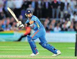 India's Virat Kohli essays a flick en route to his 78 against Kent Spitfires on Friday.