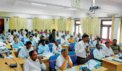 Officers of various departments attended the quarterly progress review meeting of the Zilla Panchayat in Chikkaballapur on Thursday. DH Photo