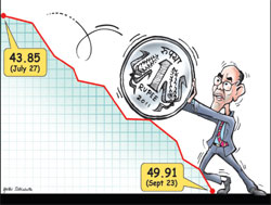 Going downhill: Rupees per dollar