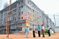 grandiose: The new JSS Hospital under construction on M G Road in Mysore. Dh photos by prashant h g