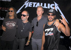 Members of American heavy metal band Metallica during a press conference in Gurgaon on Friday. PTI Photo