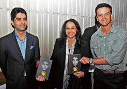 starry night: Cricketer Rahul Dravid and athlete Ashwini Nachappa at the launch of 2008 Beijing Olympics gold medallist Abhinav Bindra's book 'A Shot At  History' in Bangalore on Monday. dh photo