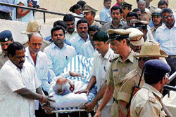 A file photo of Yeddyurappa being shifted to Victoria hospital.