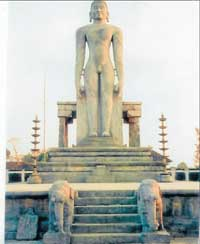 The monolithic statue of Lord Bahubali in Venur.