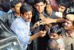 YSR Congress Party president and MP Jagan Mohan Reddy comes out after appearing before the CBI at Sultan Bazar in Hyderabad on Friday. Pic: Mohammed Aleemuddin