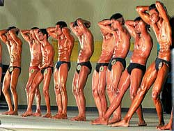 Participants at the body building competition in Mysore on Friday. DH PHOTO