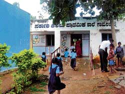Saved: The number of students at the Gajaladinne Government Lower Primary School in  Kolar taluk has increased, shutting out fear of the school being closed. DH photo