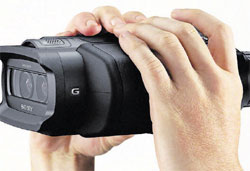 Sony's DEV-5 binoculars with a built-in video camera. NYT
