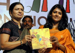 Actress Nandita Das, Chairperson of Children Film Society India, along with Andhra Pradesh Minister for Information and Public Relations D. K. Aruna showing a brochure after during a press conference to announce the details of the 17th International Children's Film Festival, in Hyderabad on Saturday. PTI