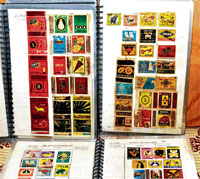 Proud possession: Kaushik's collection of matchbox covers.