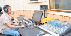 Experiment: A P Srinivas at control room in his recording studio in Mysore.  DH photos by Anurag Basavaraj