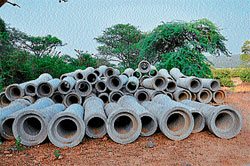 Progress:The pipes dumped at the project site. Construction of Jackwell on river Cauvery.DH photos