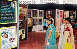 Visitors at the exhibition organised as part of the National Convention against the Crimes on Women organised by the All India Mahila Sanskritik Sanghatan in Bangalore on  Tuesday. dh Photo