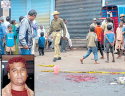 blood-stained: The spot where rowdy-sheeter Velu (inset) was murdered in front of Poornima Theatre on Tuesday. dh Photo