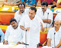 Congress MLA Dinesh Gundu Rao speaks at the BBMP meeting in Bangalore on Wednesday. DH Photo