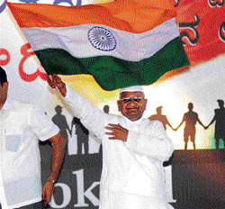 the crusader:  Anna Hazare at a public gathering at the Freedom Park in Bangalore on Saturday. KPN