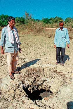 dangerous: A ditch left open after carrying out explosions in Hiraganahalli near Kattaya, Hassan district.  DH Photo