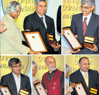 Former President A P J Abdul Kalam presents Infosys Science Foundation Prize-2011 to (clockwise from top left) Prof Kalyanmoy Deb, Dr Imran Siddiqi, Prof Kannan Soundararajan, Prof Sriram Ramaswamy and Dr Pratap Bhanu Mehta in Bangalore on Monday. DH Photo