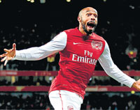 back with a bang Thierry Henry is over the moon after scoring on his Arsenal return in the FA Cup. afp