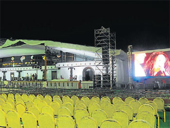 A view of the stage at Mangala stadium where the National Youth Festival will commence on Thursday. DH photo