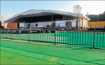 A view of the stage being readied for the mega event at Mangala Stadium. DH PHOTO