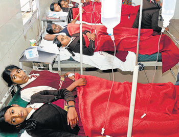 tense moments: Students recuperate at the KC General Hospital in Malleswaram on Thursday. DH Photo