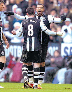 Newcastle United's Leon Best celebrates after scoring against Queens Park Rangers on Sunday. AP