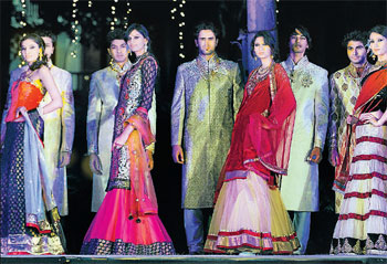 Intricate: Models showcasing the bridal wear.