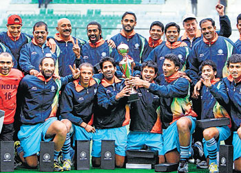 TRIUMPHANT The Indian hockey teammembers after claiming the five-match 'test' series against South Africa in NewDelhi on Sunday. PTI
