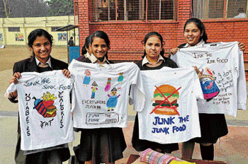 HEALTHY APPROACH Kids campaign against junk food.