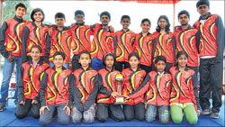 CHAMPS Karnataka skaters pose with the winners' trophy in the National Speed Roller      Skating championships in Bangalore on Saturday. DH PHOTO