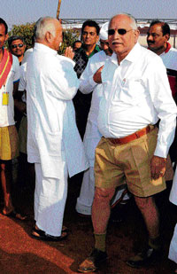 RSS chief Mohan Bhagwat and former chief minister B S Yeddyurappa at the camp. Dh photos