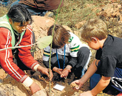 New beginning : Children plant a sapling.