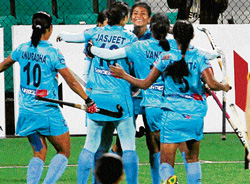saving grace India's Soundarya Yendala (centre) celebrates with her team-mates after scoring the equaliser against Ukraine in their Olympic qualifier match on Saturday. PTI