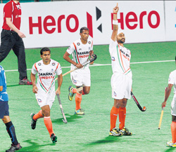 hitman: Sandeep Singh reacts after scoring India's first goal in their 8-1 drubbing of Italy in the Olympic Qualifiers in New Delhi on Sunday. AP