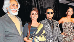 STRAIGHT LINE : Sunil Sethi, Mahima Chaudhary, Gulshan Grover and Monica Dogra at the event.