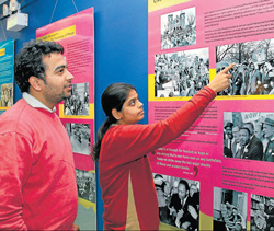 Reliving past : Visitors at the exhibition.