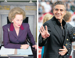 Fingers crossed : Movie buffs predict Meryl Streep and George Clooney to bag the 'Best Actor' and 'Best Actress' awards.
