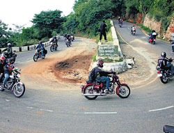 Zooming on : The members of the Royal Knights Motorcycle Club on their way to Yellagiri.
