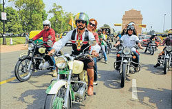 On the move: Bikers during the 'Moo Yatra'.