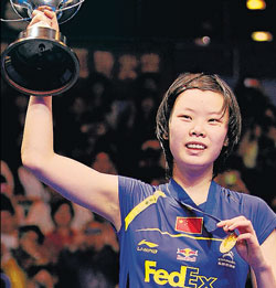 on cloud nine China's Li Xuerui poses with the women's All England badminton championship trophy on Sunday. AP